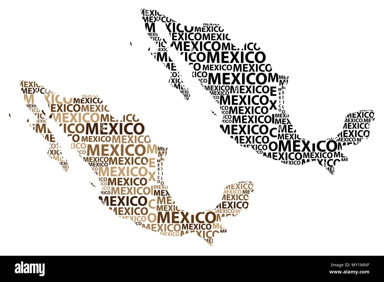 Sketch Mexico letter text map, Mexico - in the shape of the ...