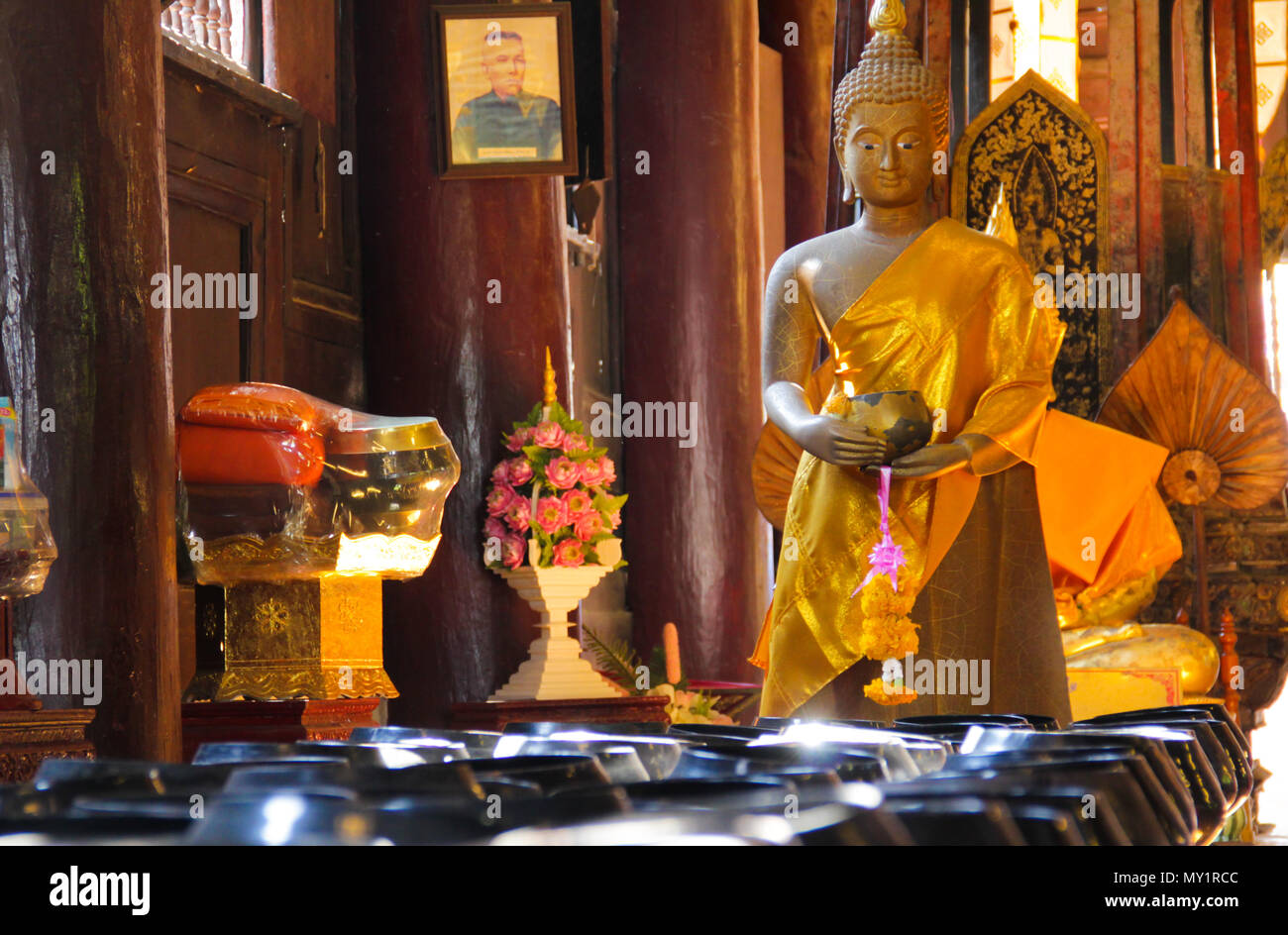 Thailand Buddha Statue with Copper Gong - Stock Image