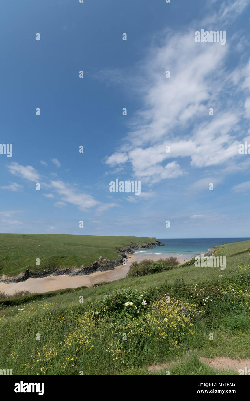 Distant view of Polly Joke beach at Crantock - Stock Image