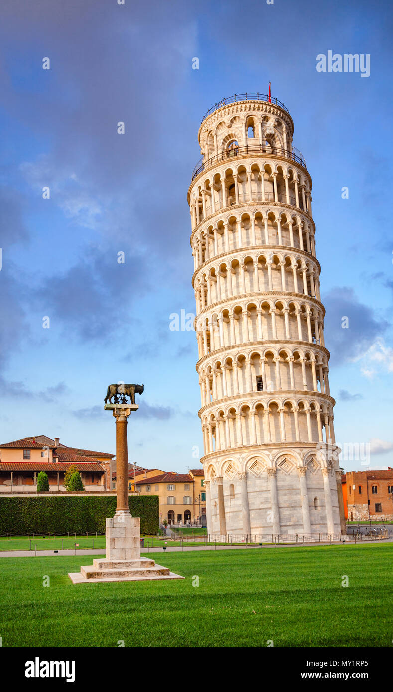 Medieval Leaning Tower of Pisa (Torre di Pisa) at Piazza dei Miracoli (Piazza del Duomo), famous UNESCO World Heritage Site and top tourist attraction - Stock Image
