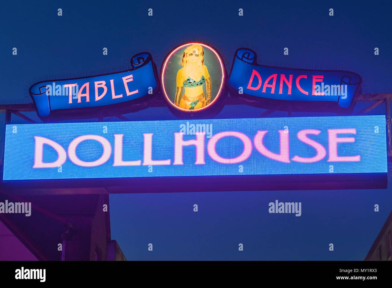 Dollhouse sign Reeperbahn St Pauli Hamburg Germany - Stock Image