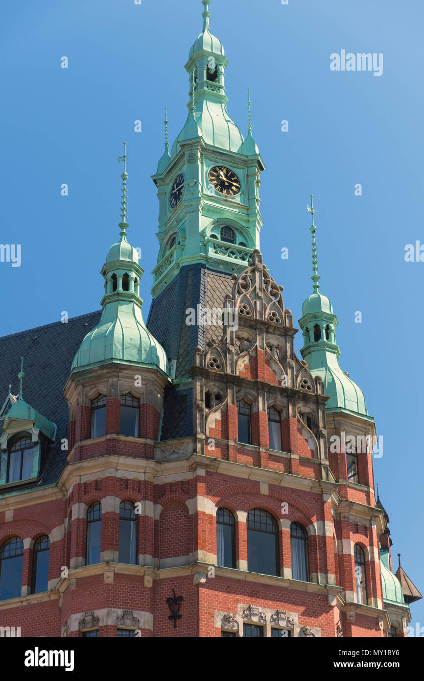 Hamburger Hafen und Lagerhaus Speicherstadt warehouse district HafenCity Hamburg Germany Stock Photo