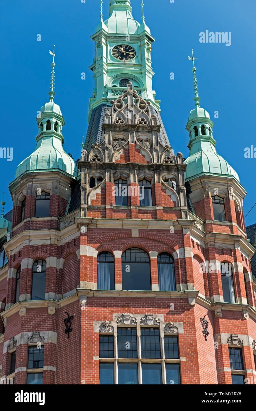 Hamburger Hafen und Lagerhaus Speicherstadt warehouse district HafenCity Hamburg Germany Stock Photo