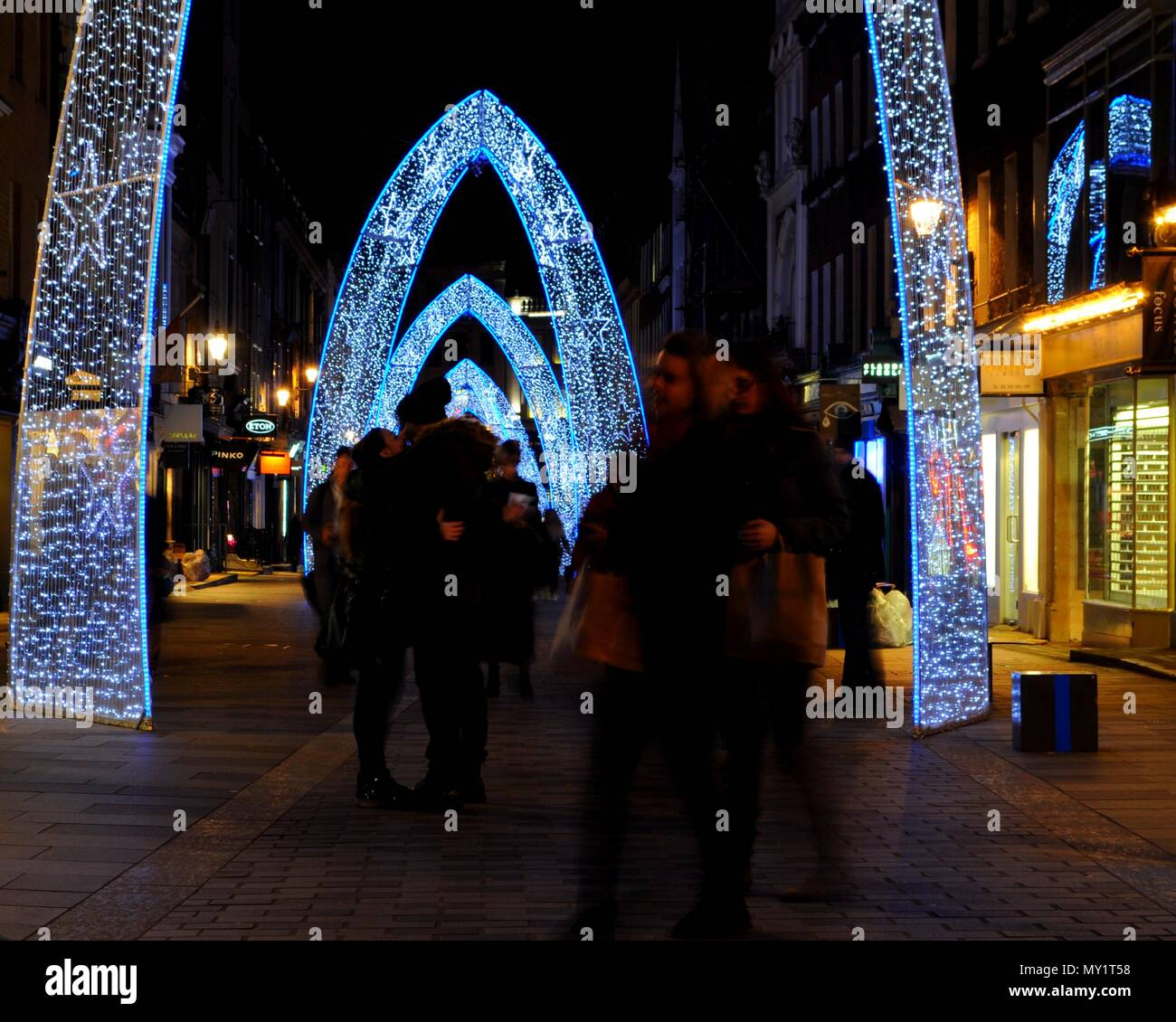 Christmas lights in South Molton Street, London. - Stock Image