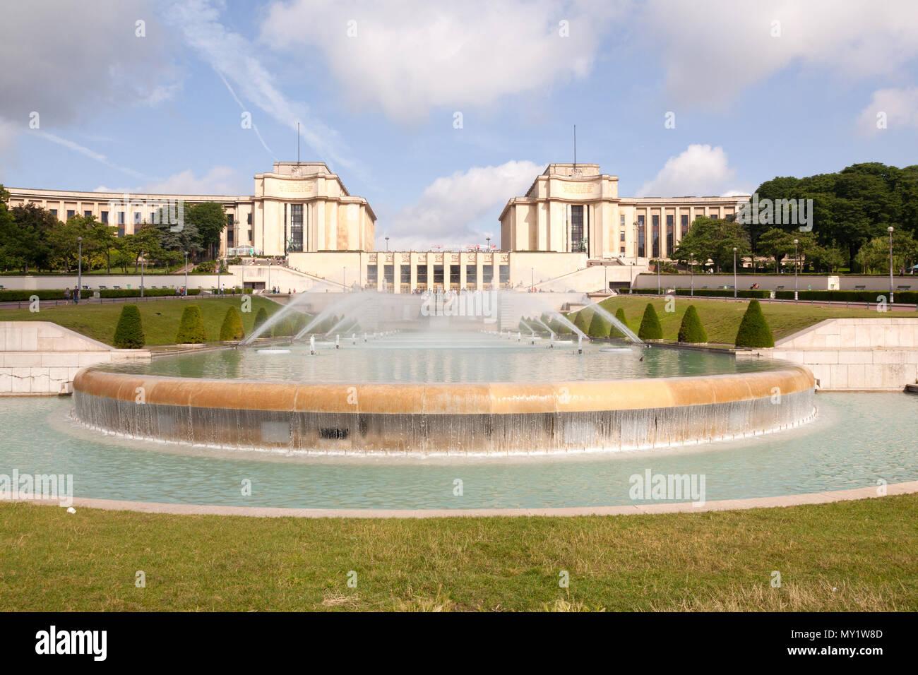 Trocadero Fountains, Paris, France, Europe - Stock Image