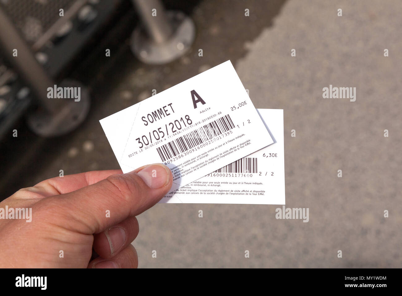 Tickets for the top of the Eiffel Tower, Paris, France, Europe. - Stock Image