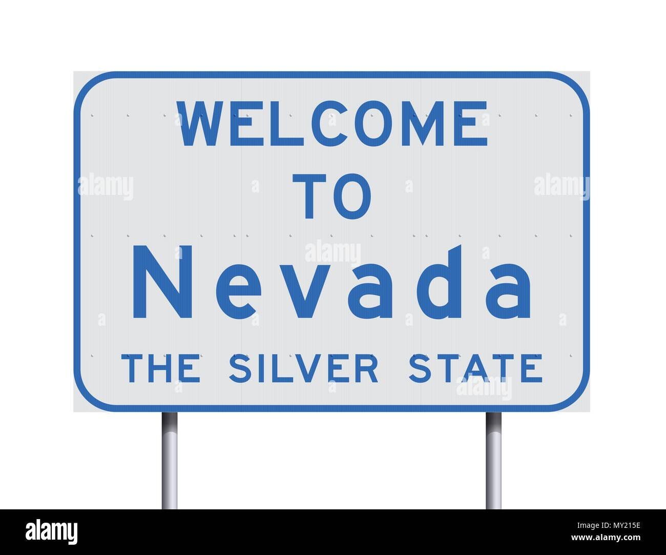 Vector Illustration Of The Welcome To Nevada White And Blue Road Sign With The Official Nickname The Silver State Stock Vector Image Art Alamy