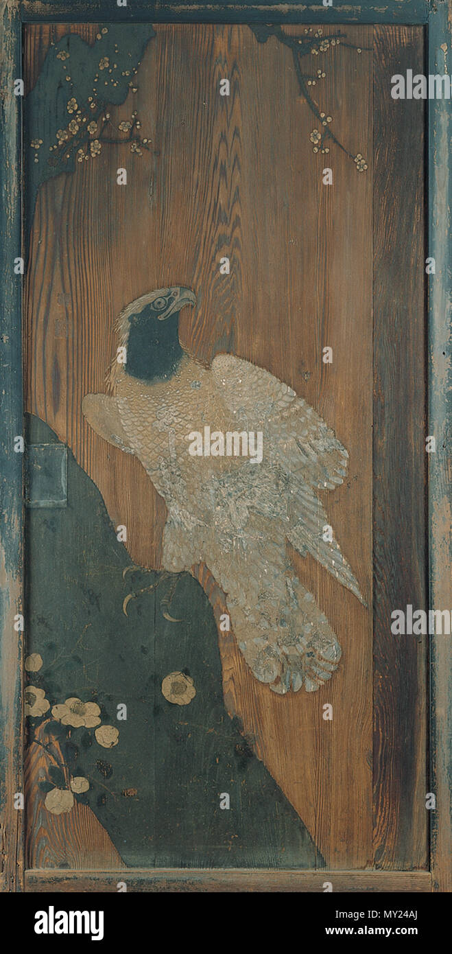 English Sliding Door Panel With Design Of Imperial Eagle Plum Tree