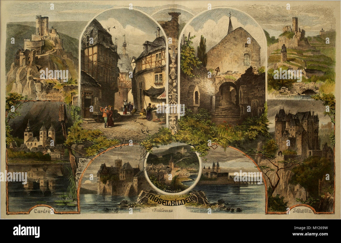 . English: Pictures of the mosel Deutsch: Moselbilder . 1874. Rud. Cronau 371 Mosel BW 1 - Stock Image