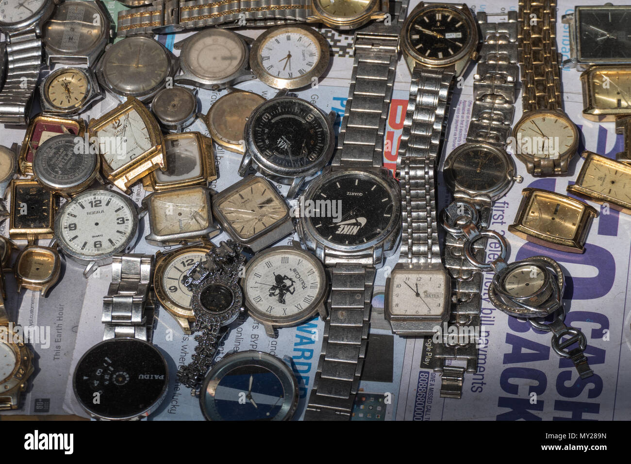 A selection of old watches - Stock Image