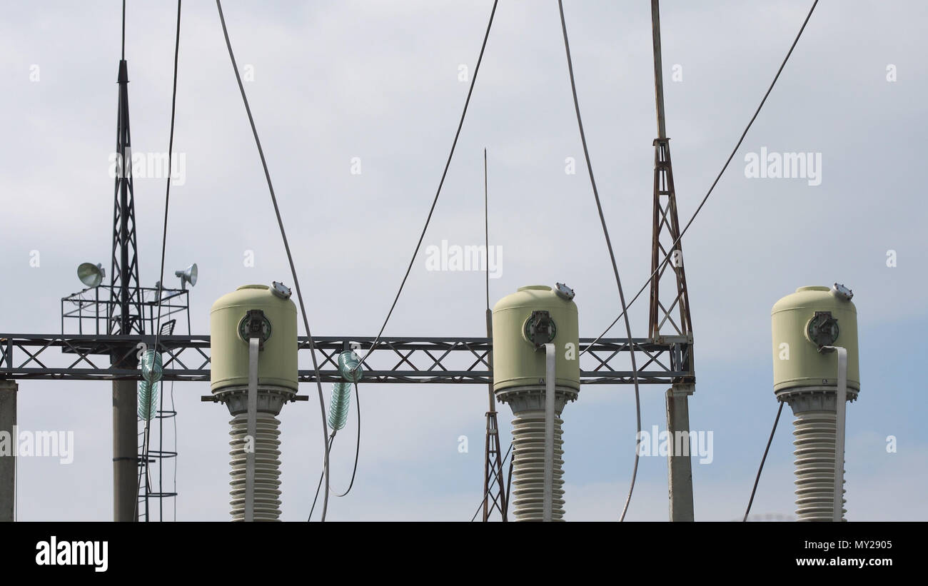 High Voltage Power Distribution Station Stock Photos Aerialwiringpicturejpg Aerial View Plant Transformation Cables And Wires Electrical Transformer In