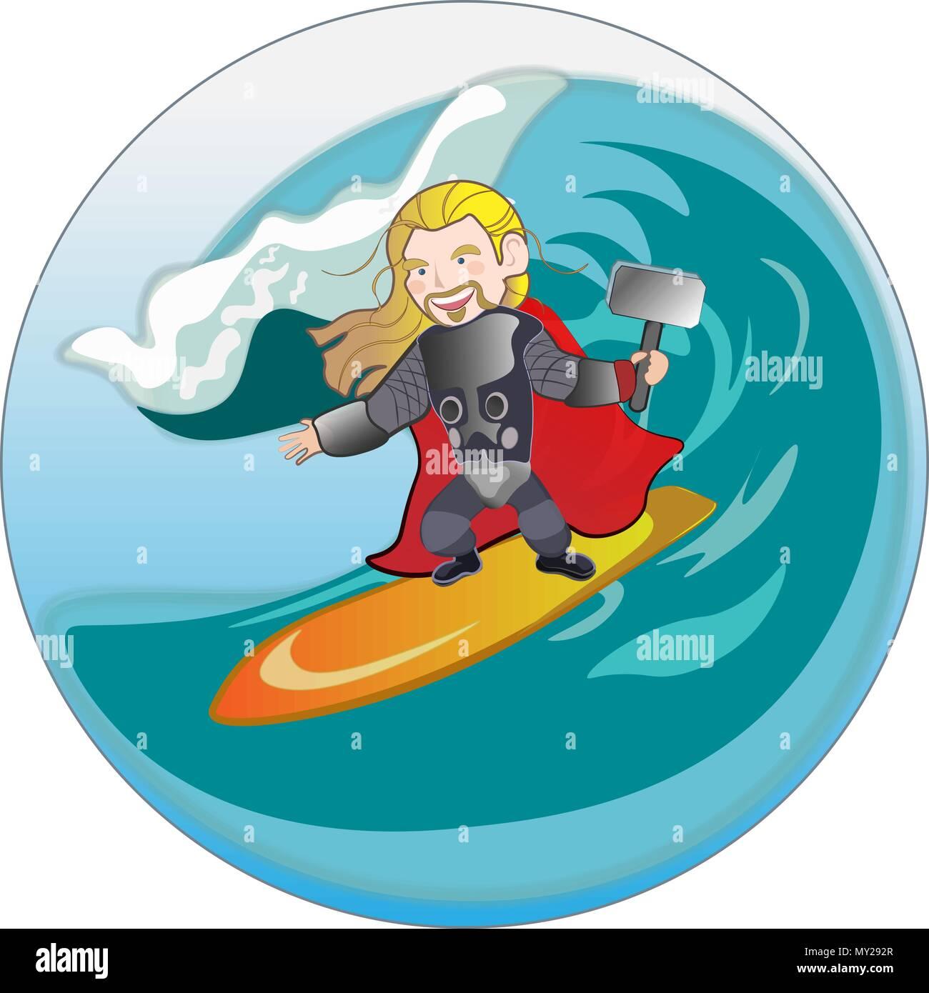 Superhero viking with hammer sliding on sea wave - Stock Vector