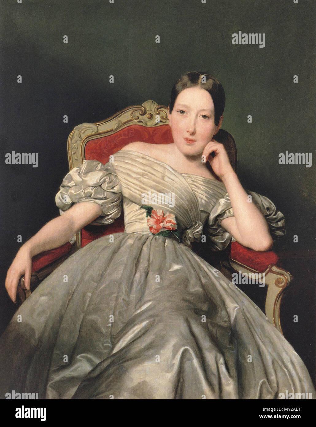 Waldmuller Ferdinand Georg - Sitzendes Mädchen in Weiùdfem Atlaskleid - Stock Image