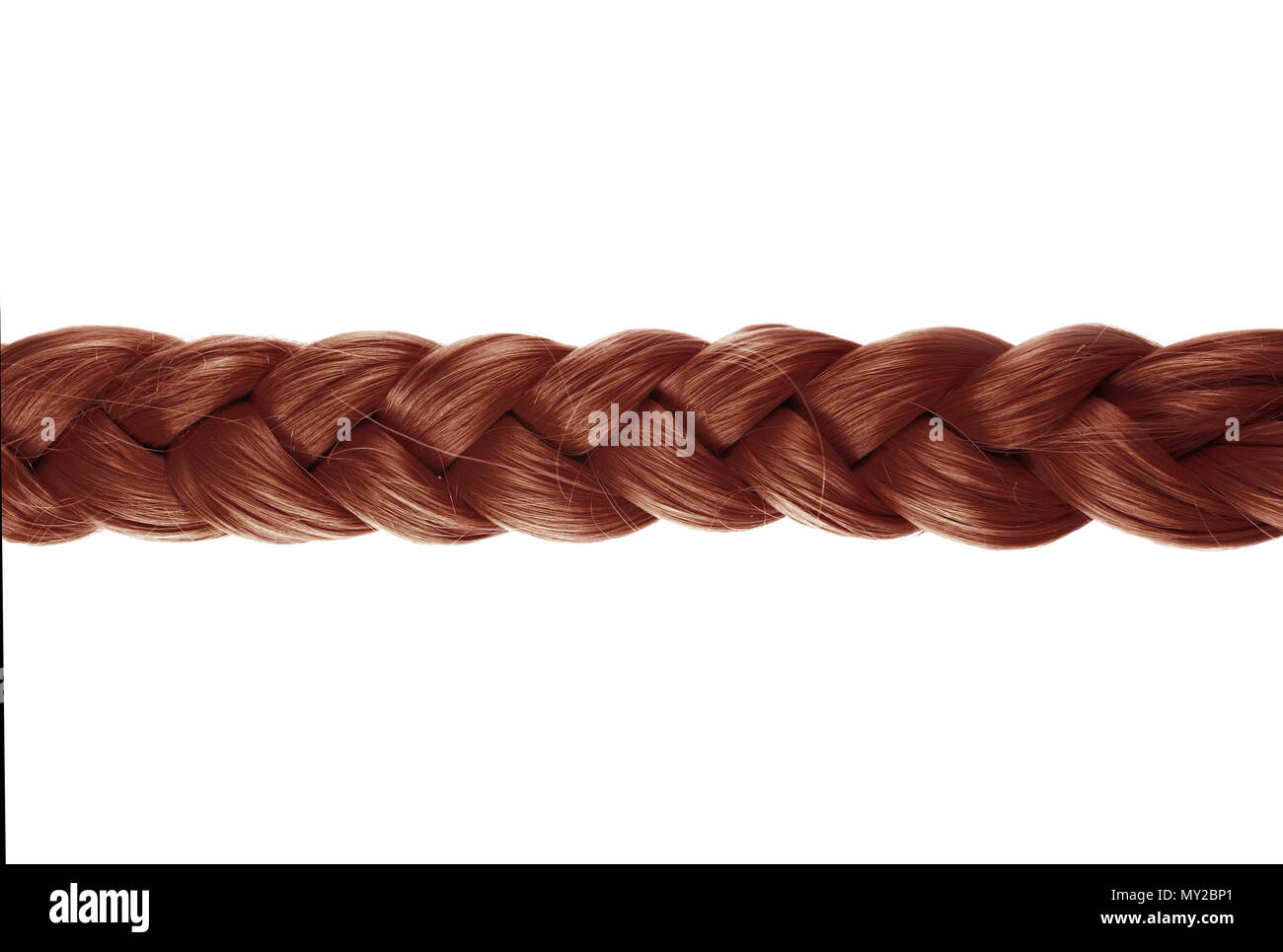 blond plait or braid of brown hair on white background - Stock Image