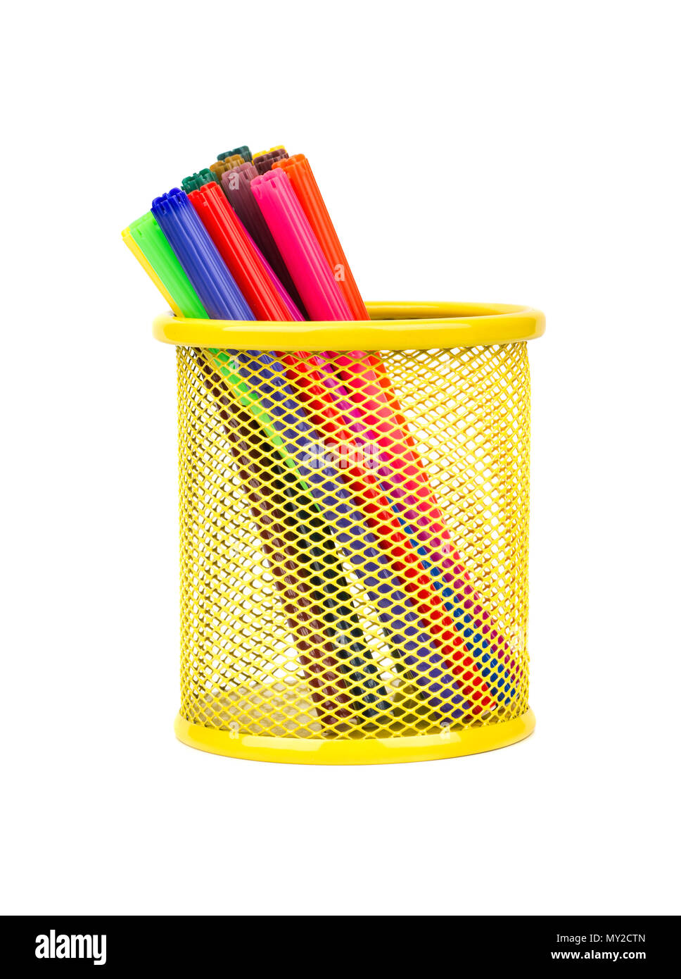 Multicolored markers in yellow shaped metal basket isolated on white background - Stock Image