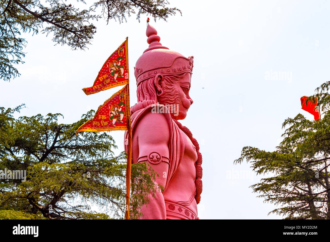 Lord Hanuman statue in Jakhu temple situated in the beautiful city of Shimla, Himachal Pradesh, India. Hindi text meaning ' Hail Lord Ram'. - Stock Image