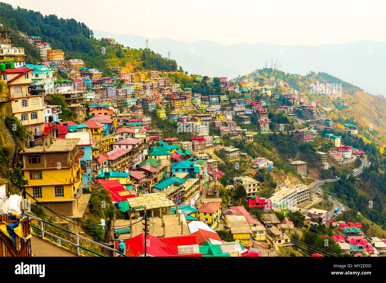 Shimla is one of India's most popular hill resorts, buzzing with a happy flow of Indian vacationers and full of relics of its previous life. - Stock Image