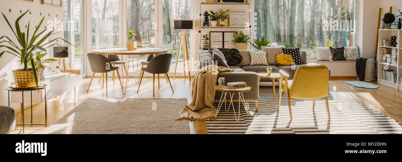 Spacious living room interior with a corner sofa and armchair next to a dining table with chairs standing by the window - Stock Image