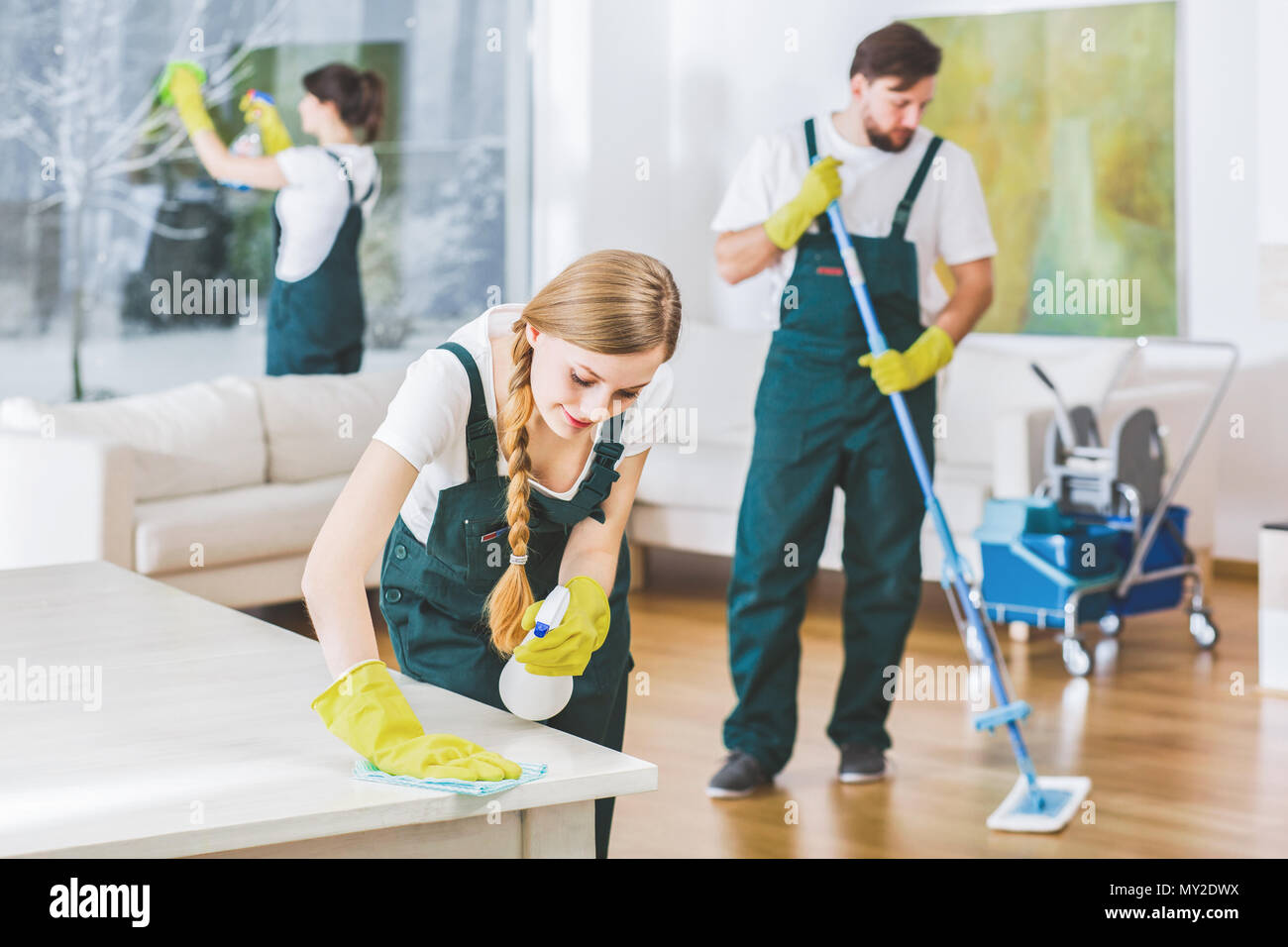 Cleaning service employees with professional equipment cleaning a private home after renovation - Stock Image