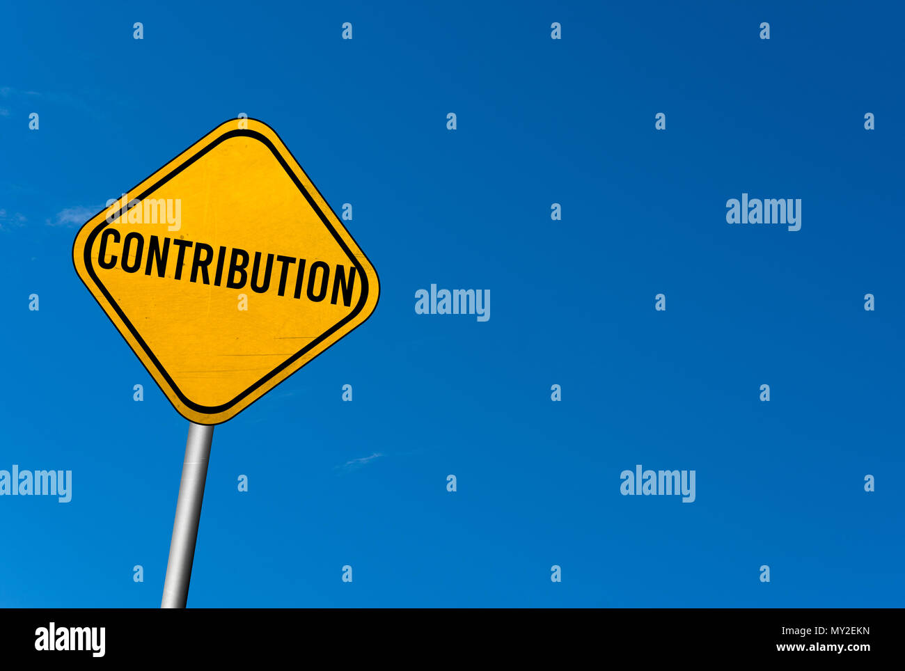 contribution - yellow sign with blue sky - Stock Image