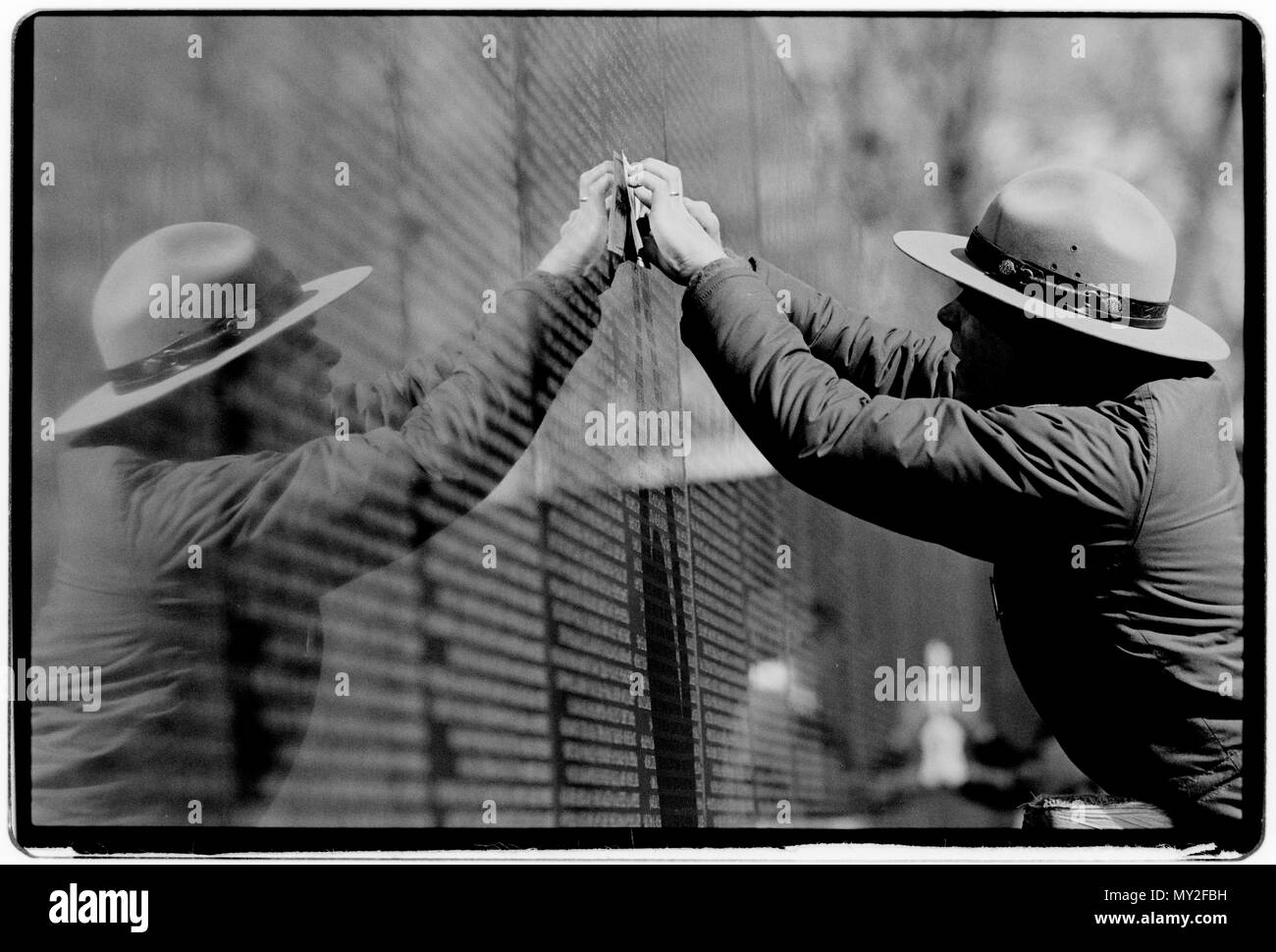 The Vietnam Veterans Memorial is a 2-acre (8,000 m²) U.S. national memorial in Washington D.C. It honors service members of the U.S. armed forces who fought in the Vietnam War, service members who died in service in Vietnam/South East Asia, and those service members who were unaccounted for (missing in action, MIA) during the war. - Stock Image