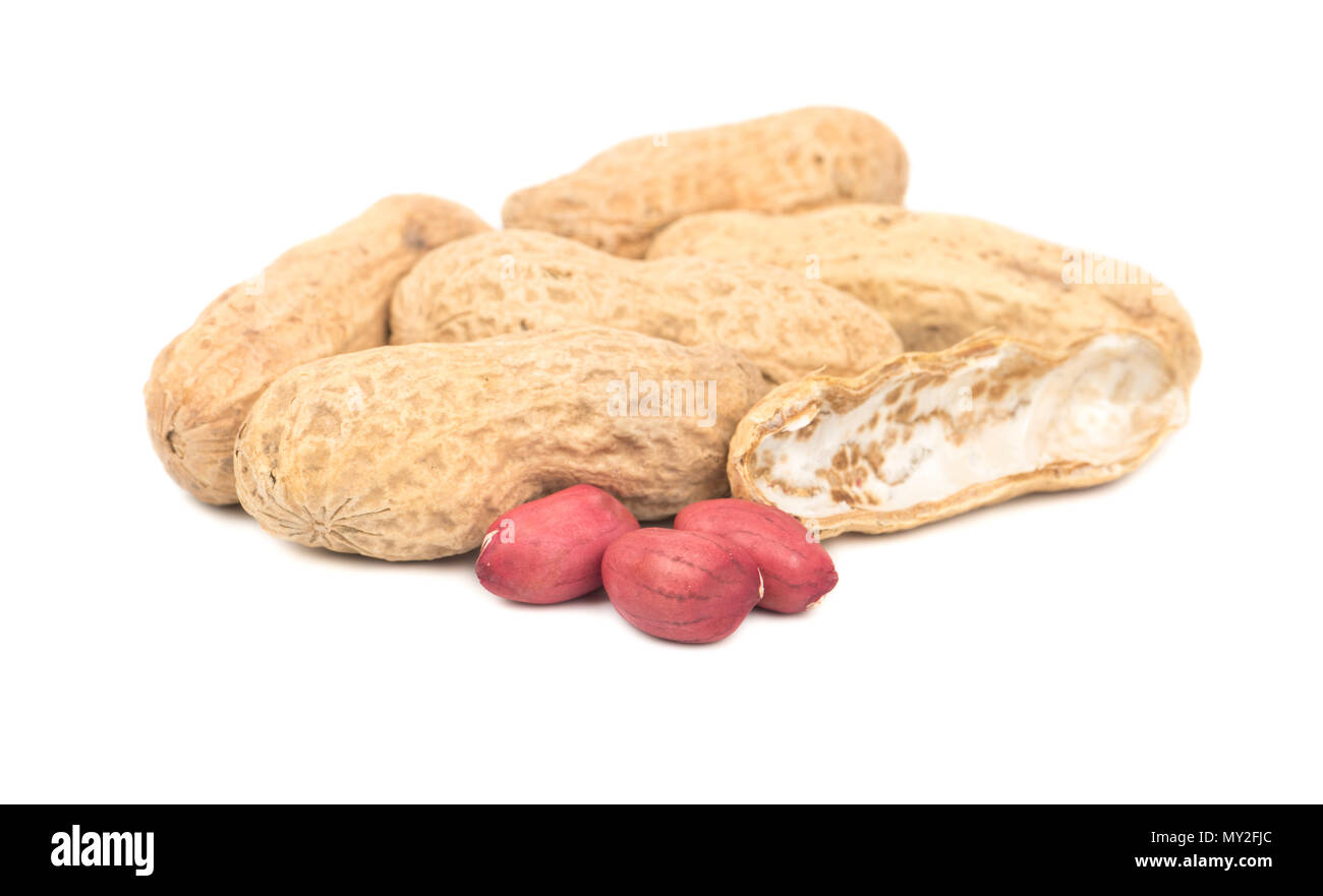 Several peanuts in a shell with three cores on a white background - Stock Image