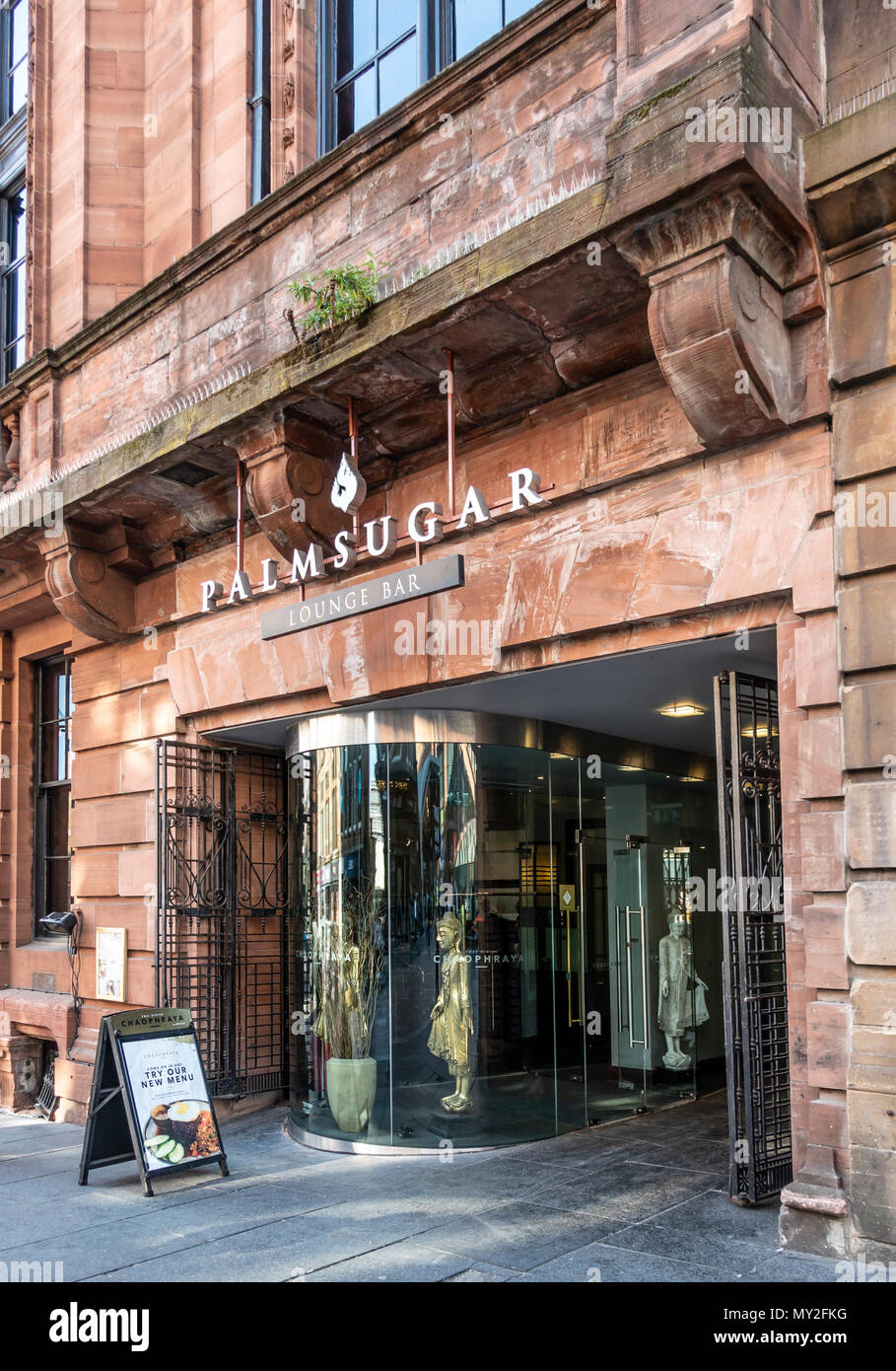 Entrance to the Palm Sugar Lounge Bar, located in the old Athaneum building in Nelson Mandela Square, Glasgow city centre, Scotland, UK. - Stock Image