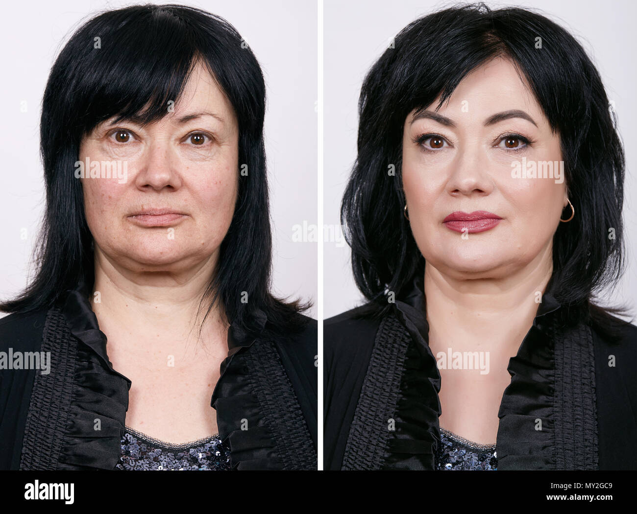 Comparative portrait of mature woman with and without makeup. - Stock Image