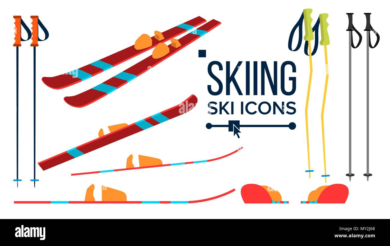Skiing Icons Vector. Different View. Winter Sport Equipment. Equipment. Mountain Vacation, Activity, Travel. Isolated Flat Illustration Stock Vector