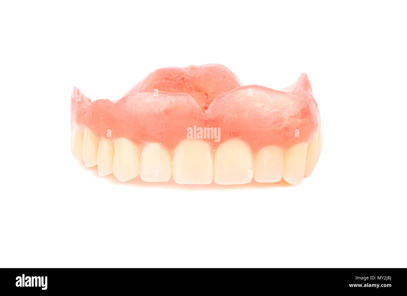 Denture for the upper jaw on a white background - Stock Image