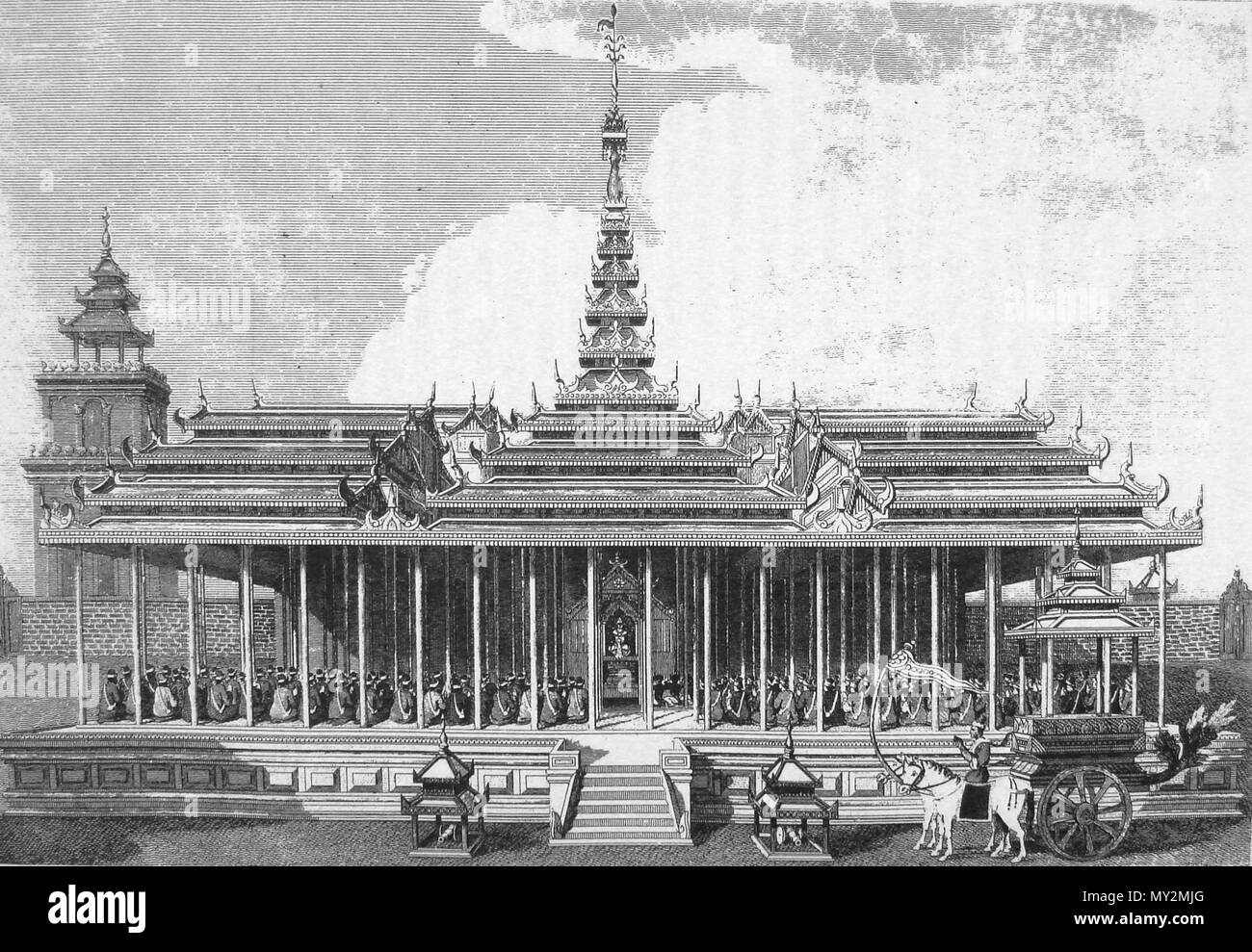 . English: View of the Imperial Court at Amarapura (Ummerapoora), and the Ceremony of Introduction.  English: Published November 1, 1799 by G. Nicol. Pall Mall & J. Wright, Piccadilly, London. . English: Drawn by Singey Bey, engraved by T. Medland. 36 Amarapura palace British Embassy Michael Symes 1795 - Stock Image