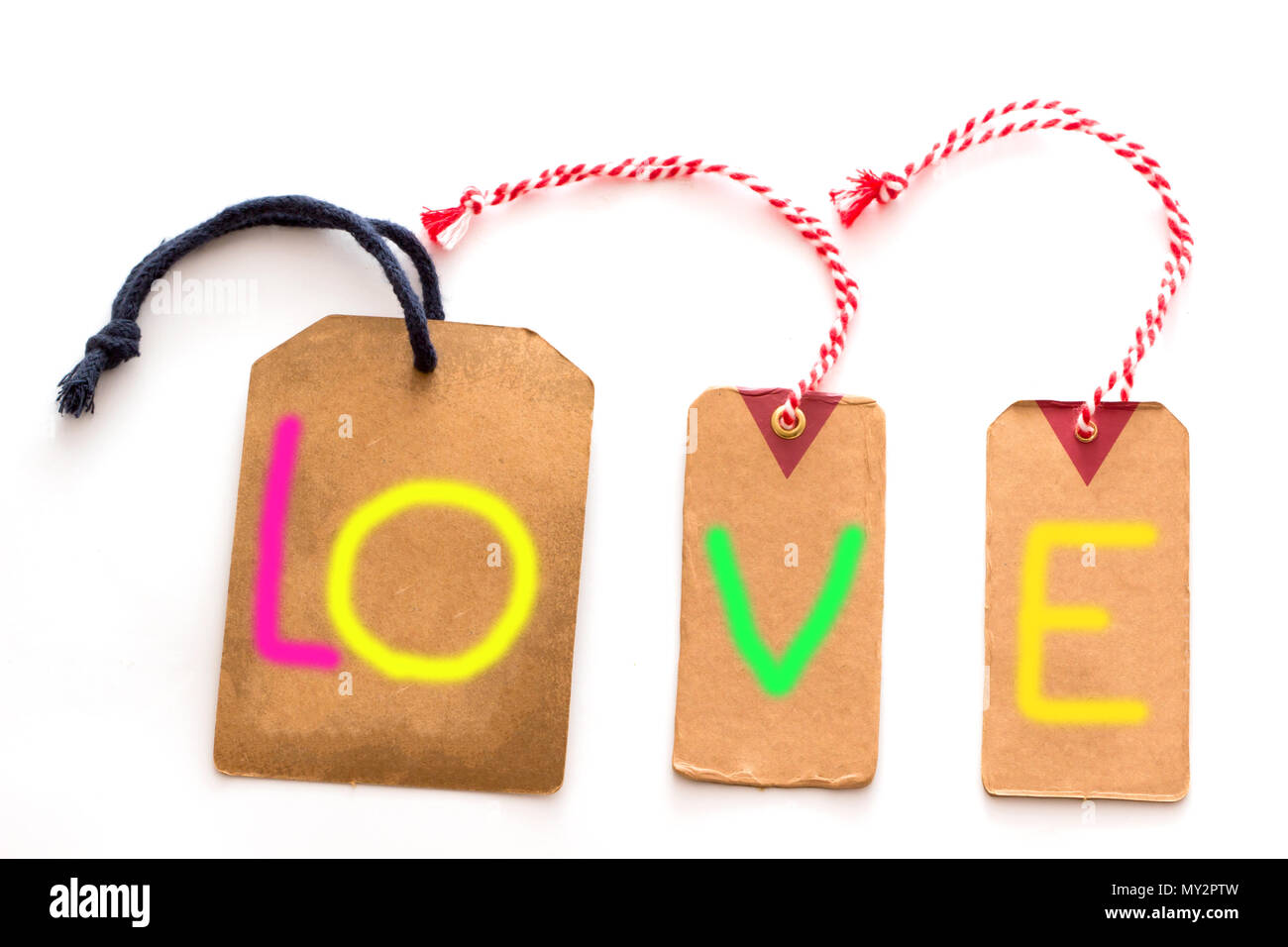 Label With The Word Love Gift Greeting Card On White Background