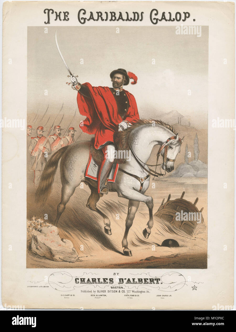 . English: Music cover sheet: Garibaldi on horseback, directed to right, with head turned to look to left, wearing a plumed hat and red drape around his shoulders over a double-breasted black coat, his right arm outstretched, holding up a sword in his hand, followed by a group of armed soldiers at left; basket at right, a lake or river behind, trees on the opposite shore, and hills in the distance; outer border surrounding image. Lithograph, printed in colour, with additional hand-colouring . 1841-1863 (circa). Print made by John Brandard 520 The Garibaldi Galop. - Stock Image