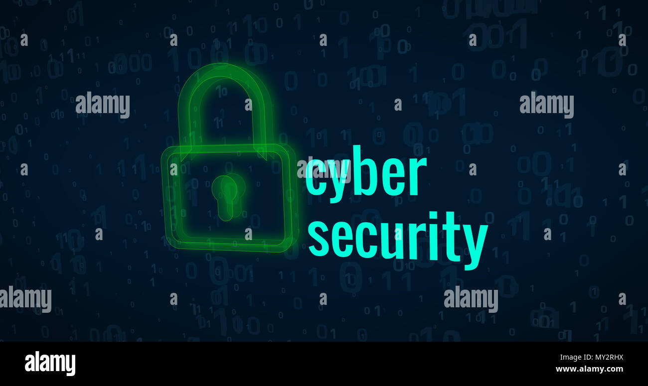 Cyber security and computer protection on digital background abstract concept Stock Photo