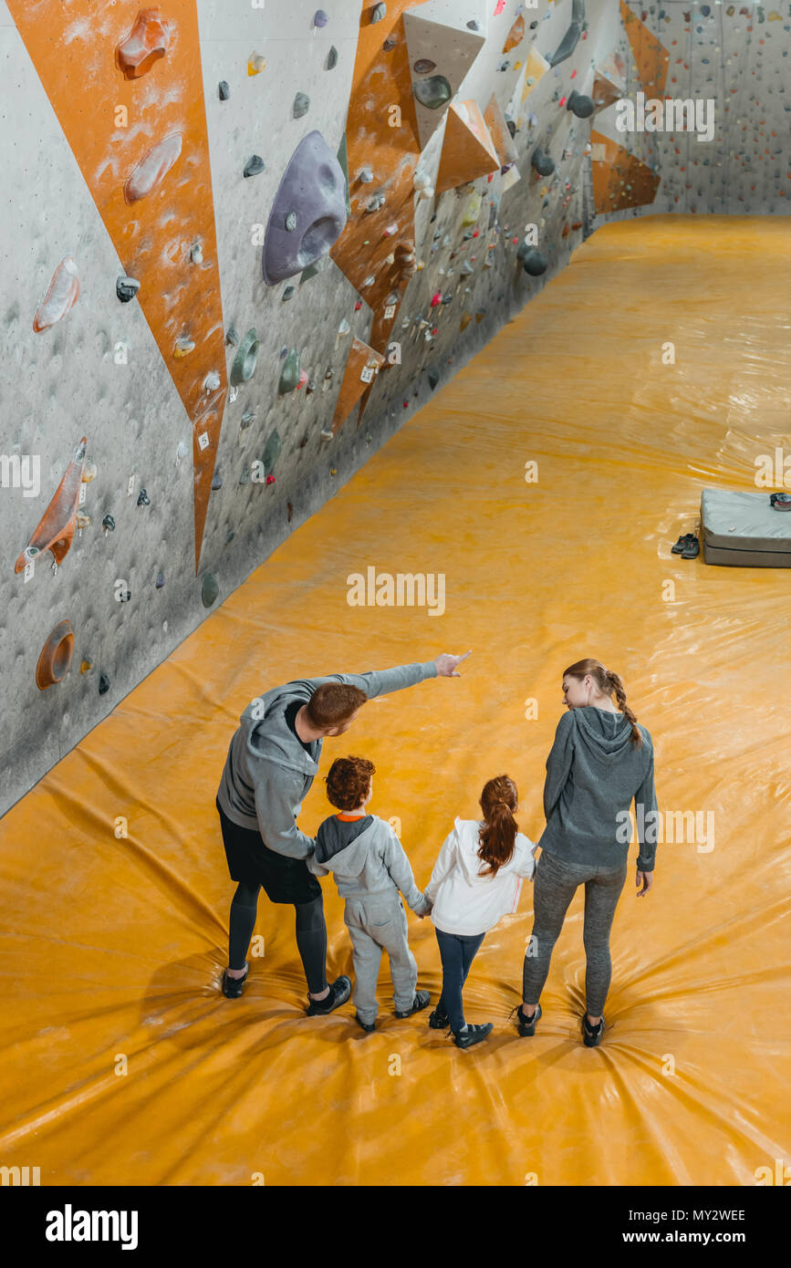 High-angle shot of happy family with kids holding hands and standing in a row with dad showing something to kids - Stock Image
