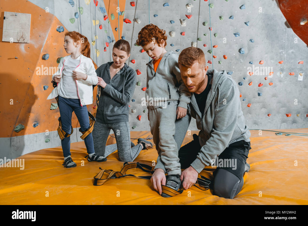 Parents securing their children in harnesses for climbing a wall with grips at gym - Stock Image