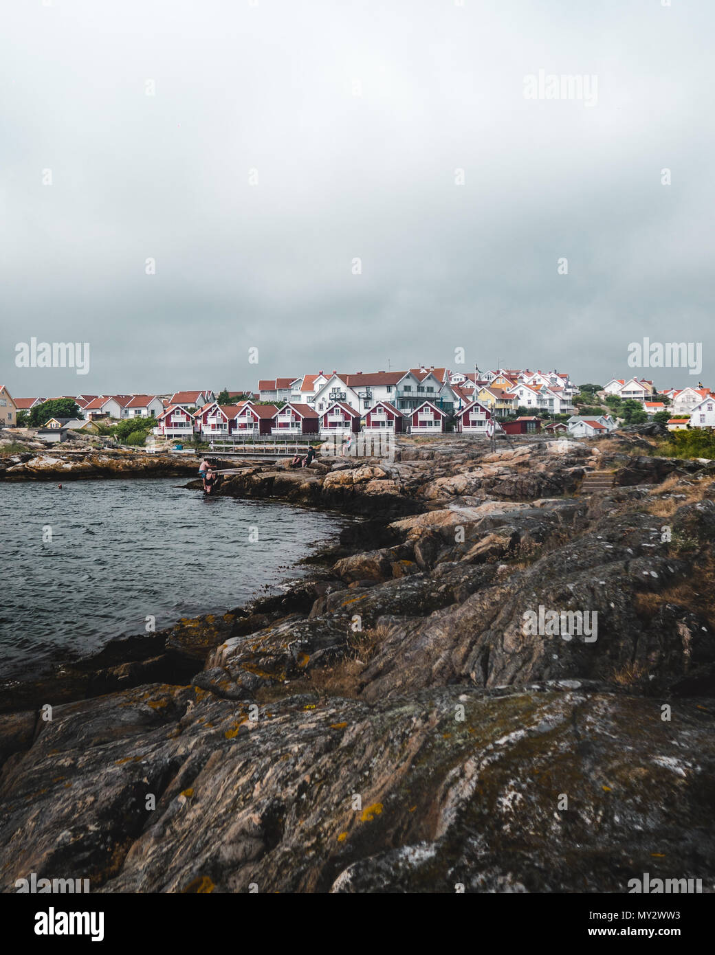 Overcast summer day in Gullholmen, Orust on the Swedish west coast. Hot summer day in Sweden. Stock Photo