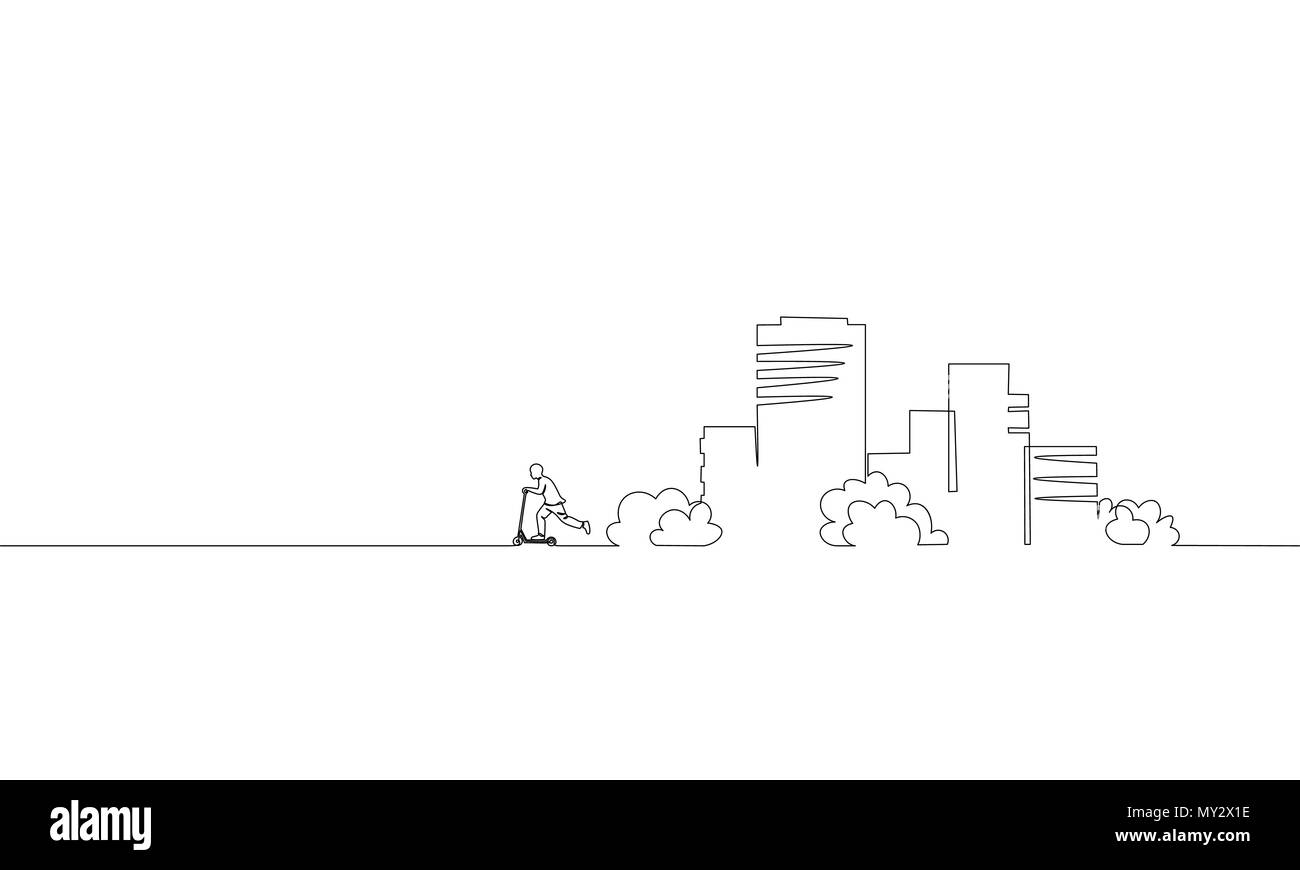 Single continuous one line art city building riding scooter. Architecture construction house urban apartment cityscape concept design sketch outline drawing vector illustration - Stock Image