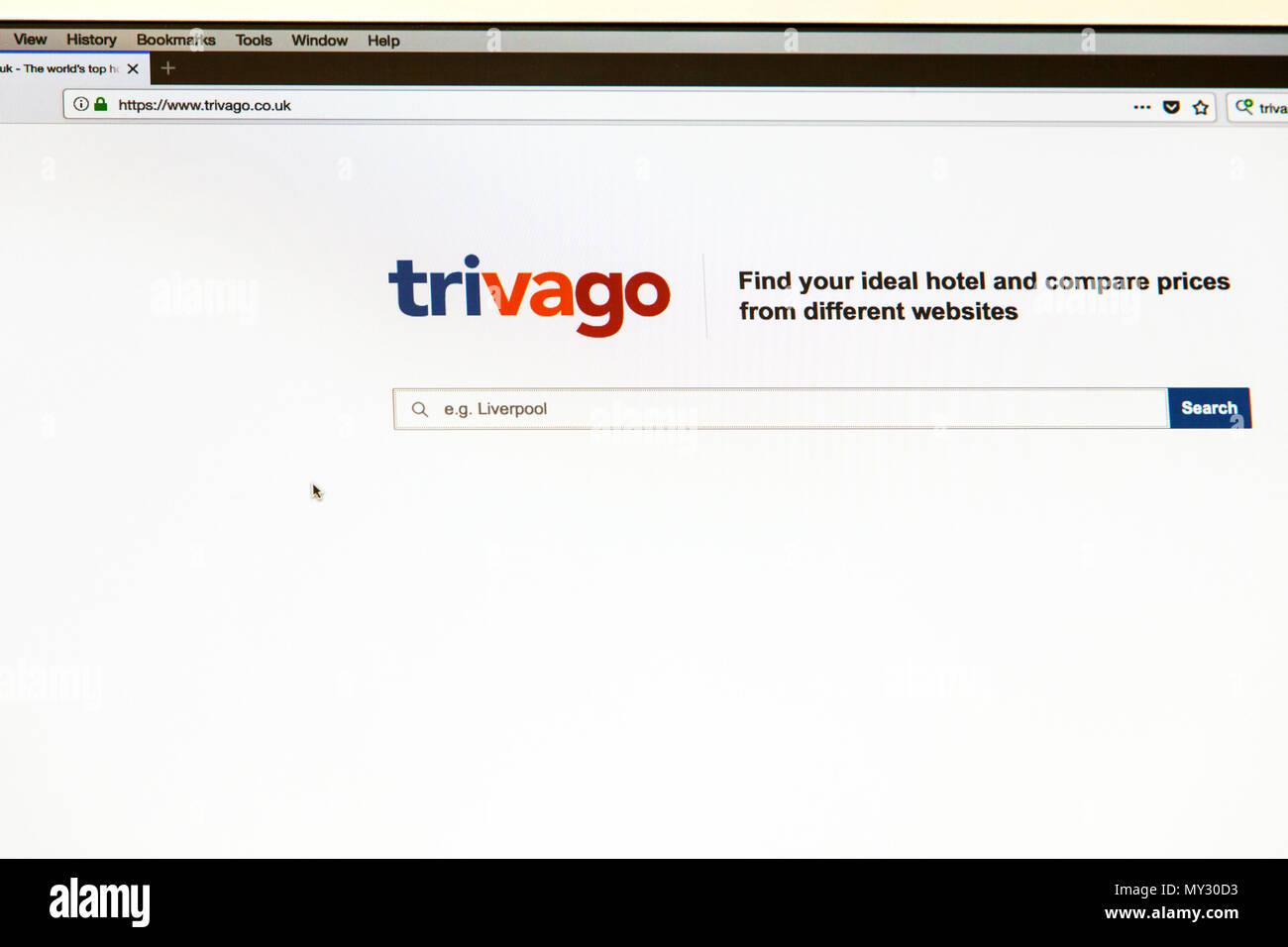 Trivago, Trivago home page, Trivago hotel price comparison site, hotel price comparison site, trivago price comparison, trivago website, trivago home - Stock Image