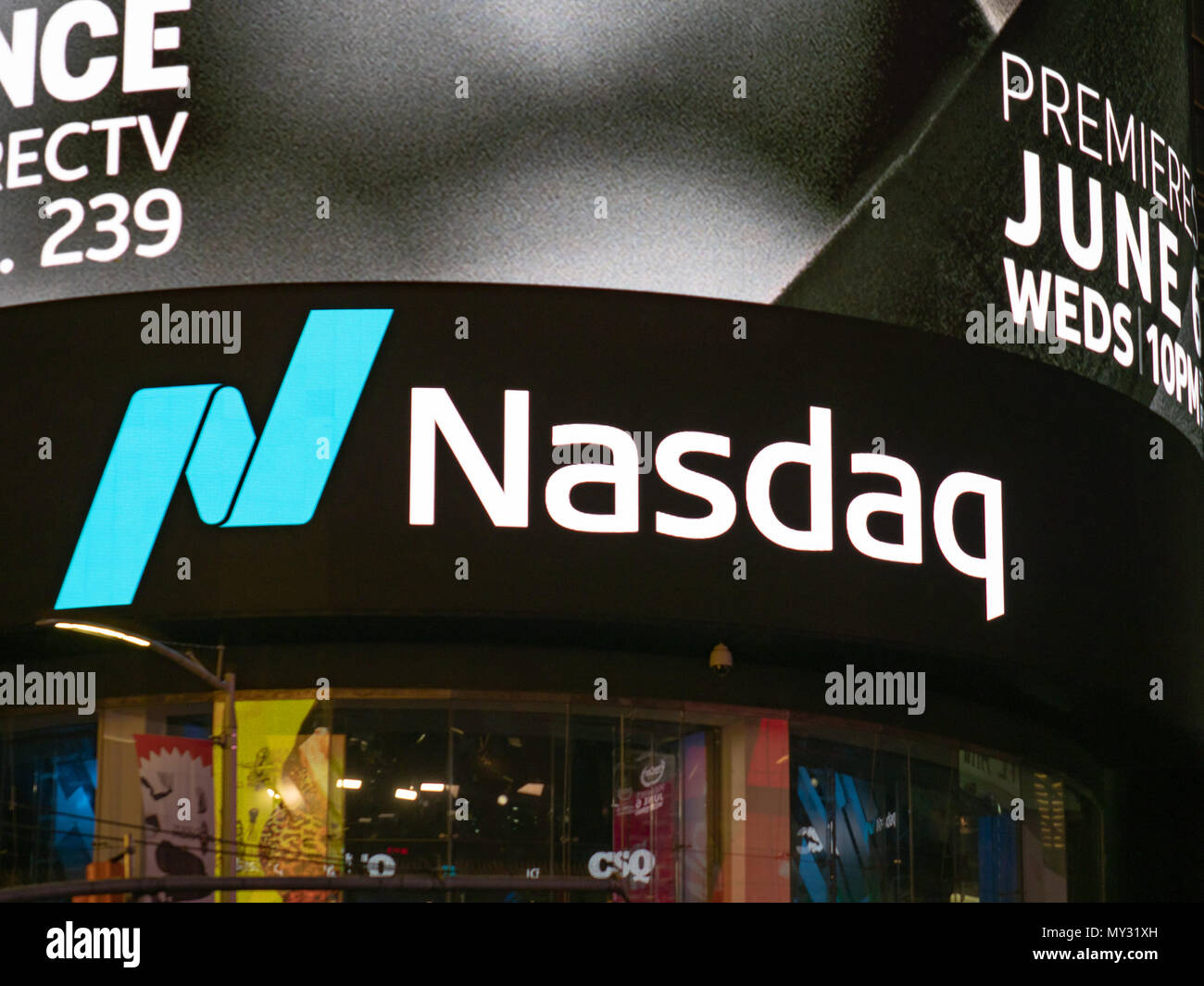 NEW YORK, NY – MAY 16, 2018: NASDAQ MarketSite location at Times Square. This is the commercial marketing presence of the NASDAQ stock market - Stock Image