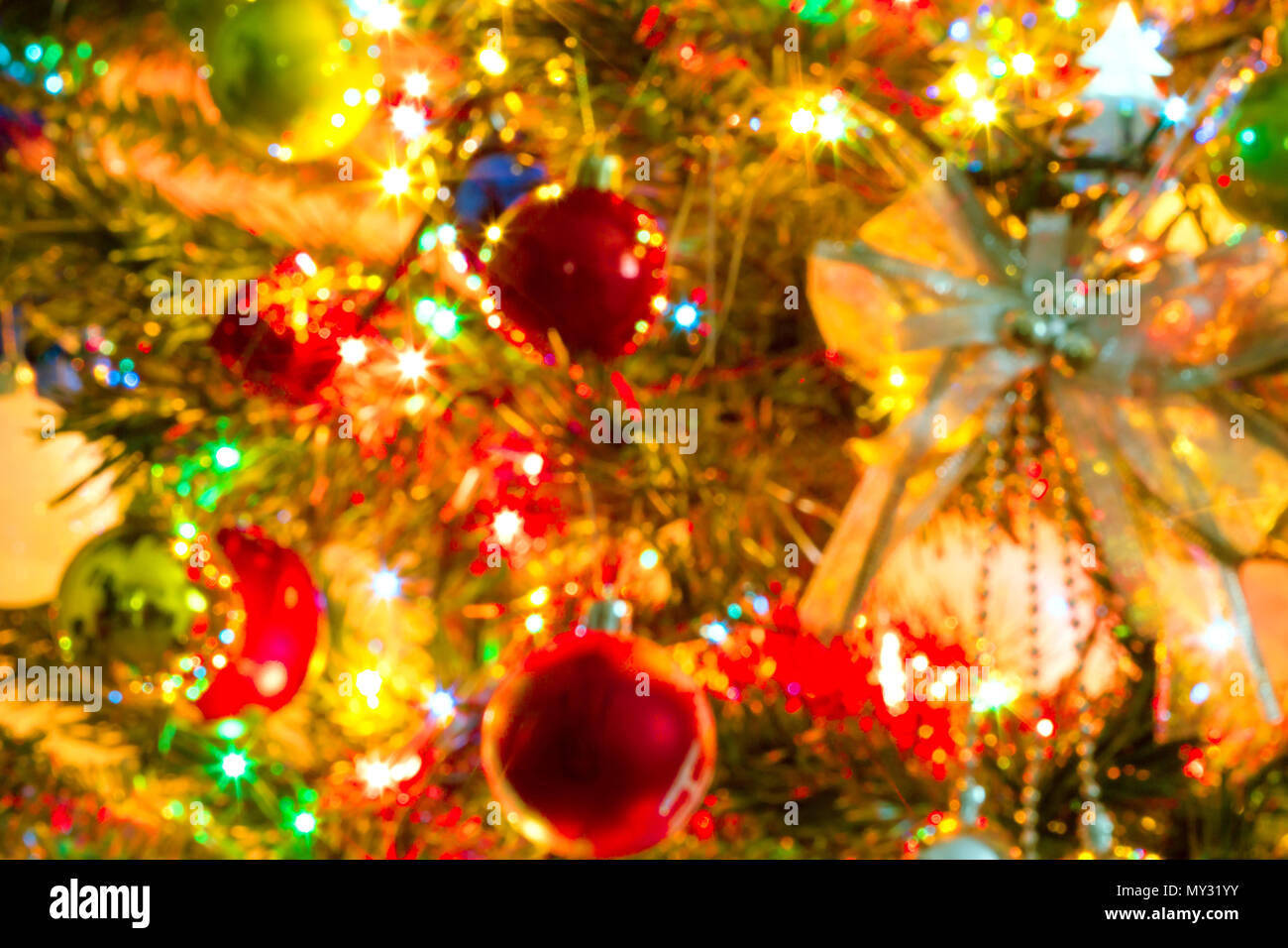 Beautiful Christmas Background Images.Blurred Image Beautiful Christmas Tree And Colorful Light