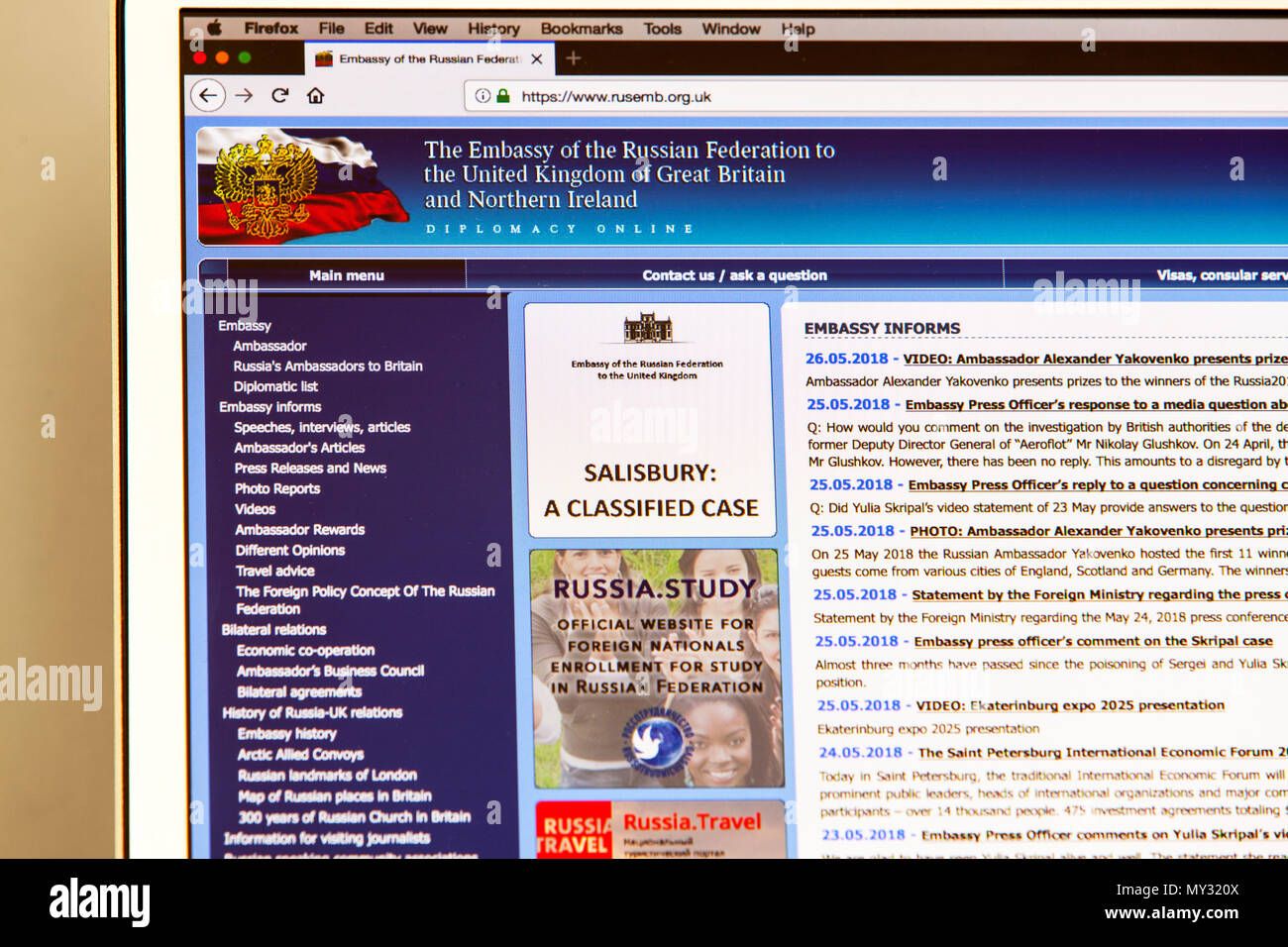 Russian Federation website, The Embassy of the Russian Federation to the UK Website, Embassy of Russian Federation, Russian Embassy Website, internet - Stock Image