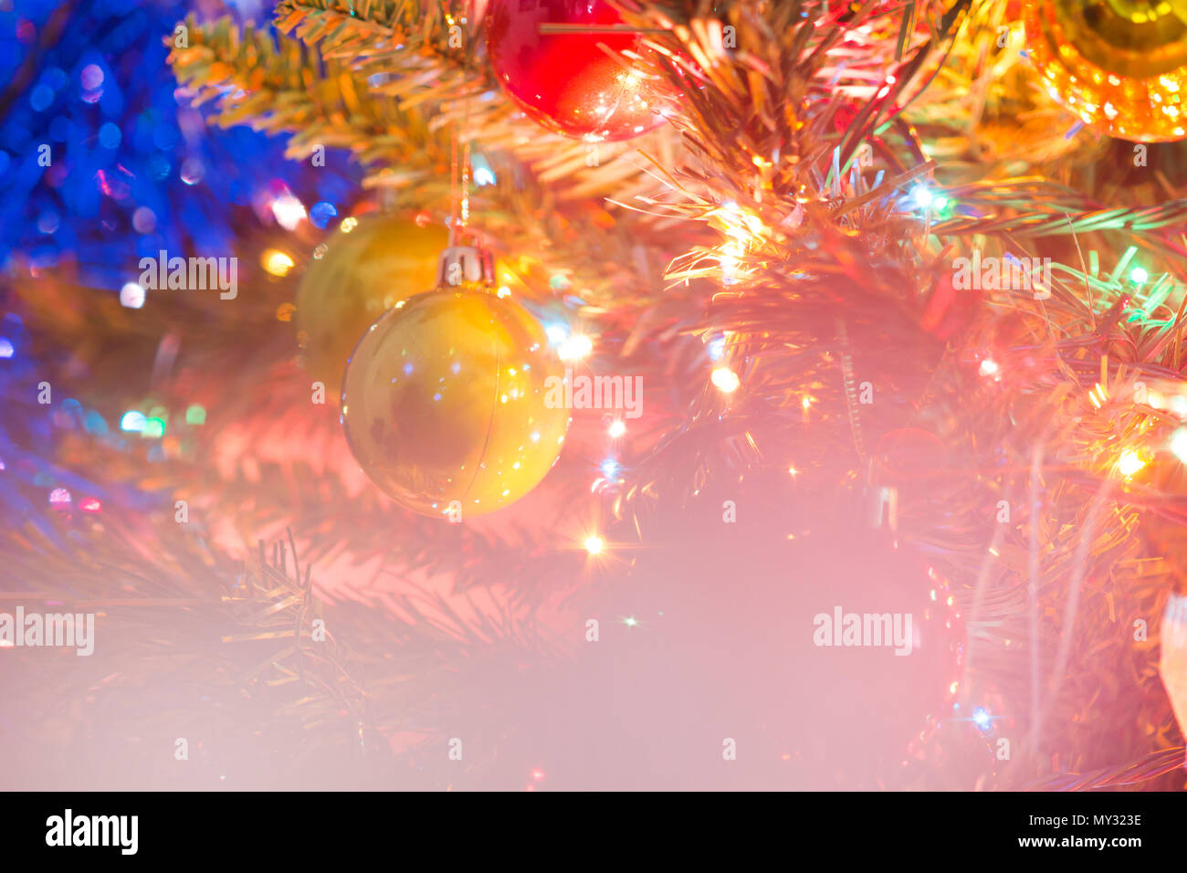 Blurred image. of Christmas-tree decorations, Retro filter effect. Stock Photo