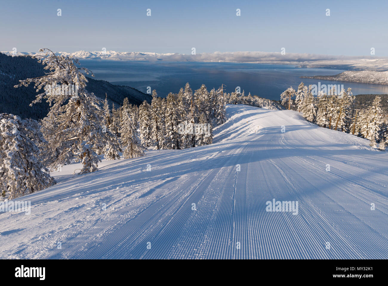 Lake Tahoe as viewed from Diamond Peak ski resort in Incline Village after a snow storm. - Stock Image