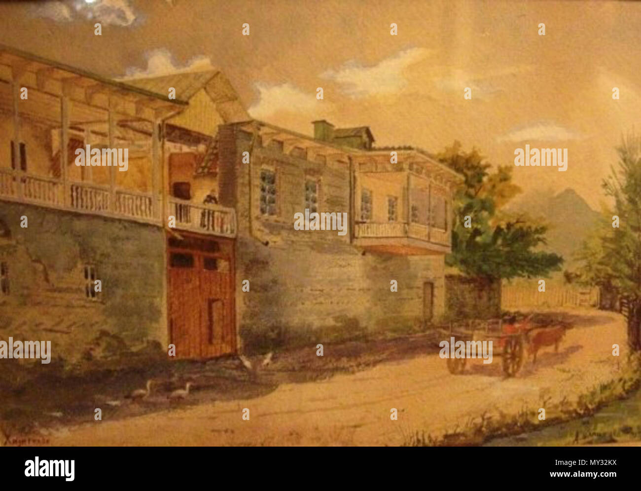 . English: 'A house of the Tutunov family in Khidistavi in 1905.' . 9 November 2008. Artemy Shamshinov (1856-1914) 19 A. Shamshinov. Tutunov house in Khidistavi, 1905 - Stock Image