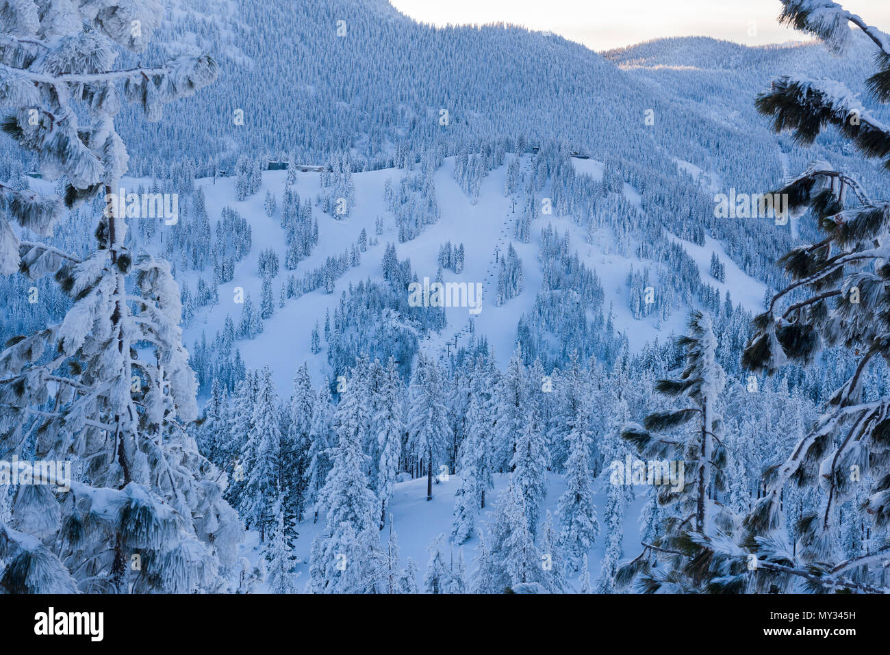 Diamond Peak as seen from Mt. Rose Highway after recent snowfall. Stock Photo