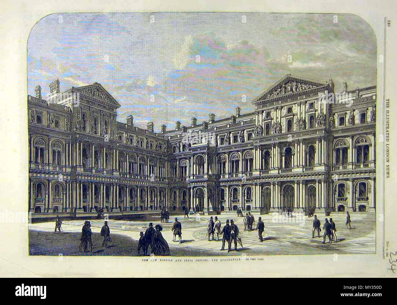 English The New Foreign And India Office The Quadrangle From The Illustrated London News 1868 Source Ebay Jan 2010 1868 Illustrated London News 521 The New Foreign And India Office The Quadrangle Stock Photo 188769181 Alamy