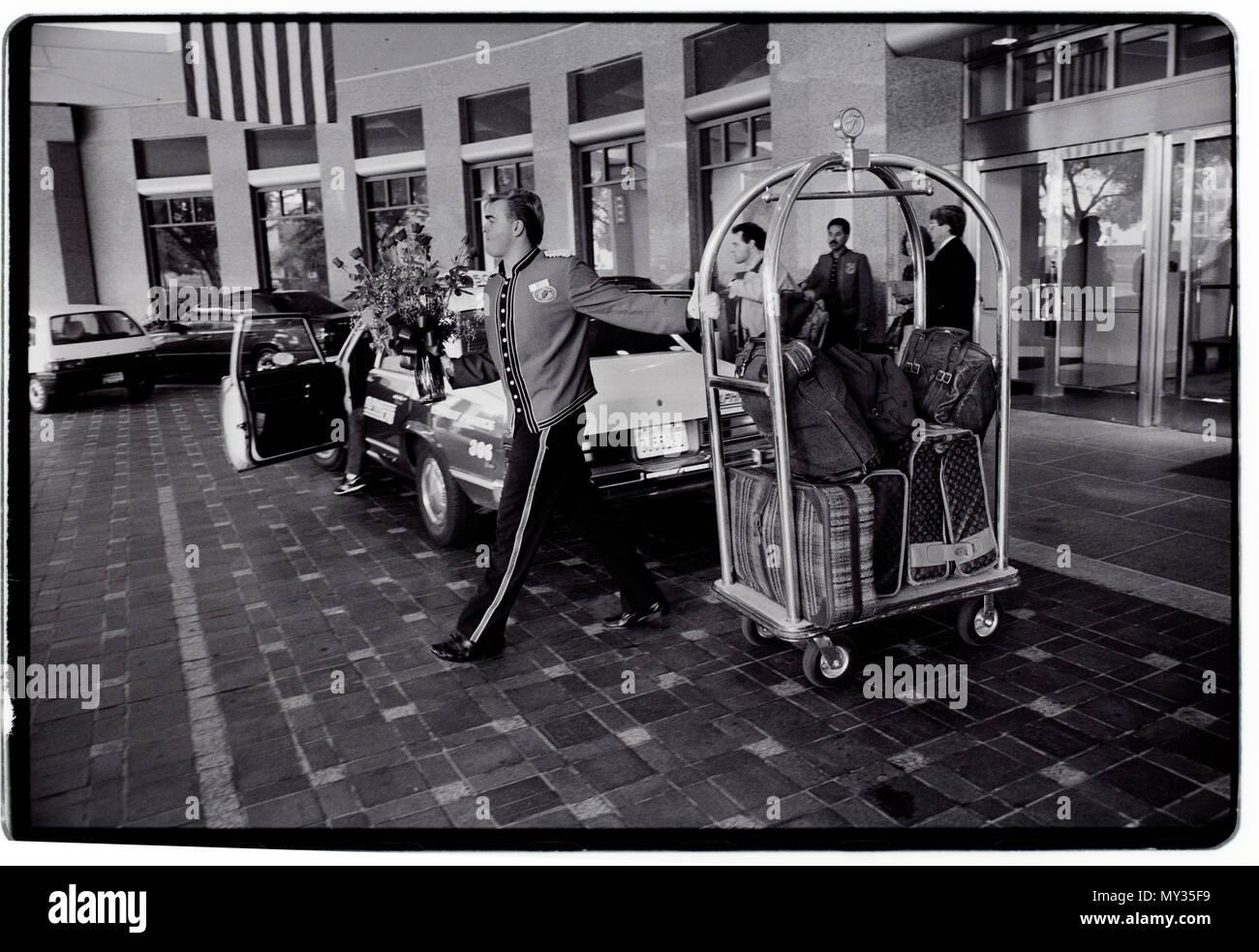 San Francisco USA Street life. 1988 Bell Hop, concierge at upmarket hotel on Nob Hill, 1988 - Stock Image
