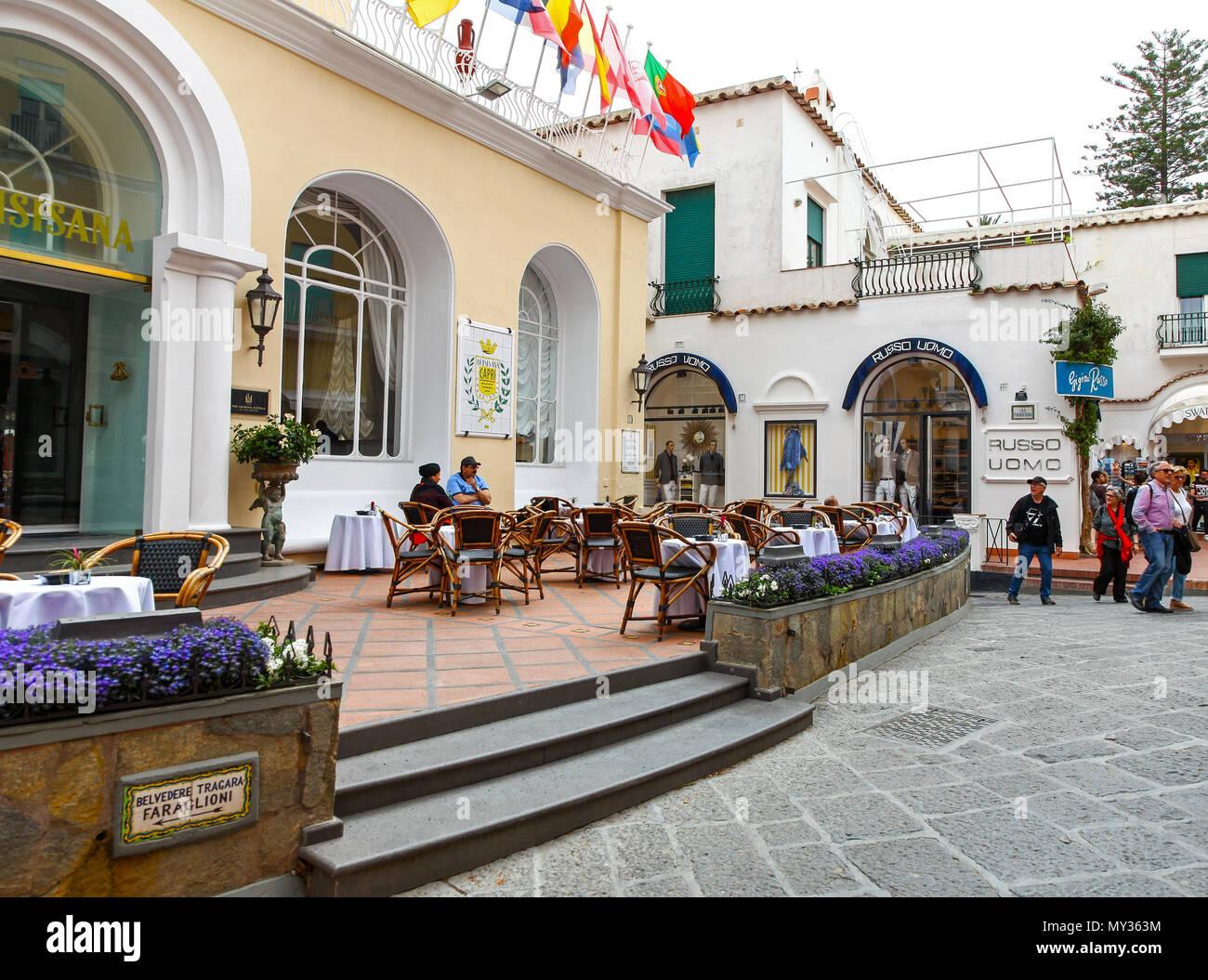 Grand Hotel Quisisana on Via Camerelle on the island of Capri, Campania, Italy - Stock Image