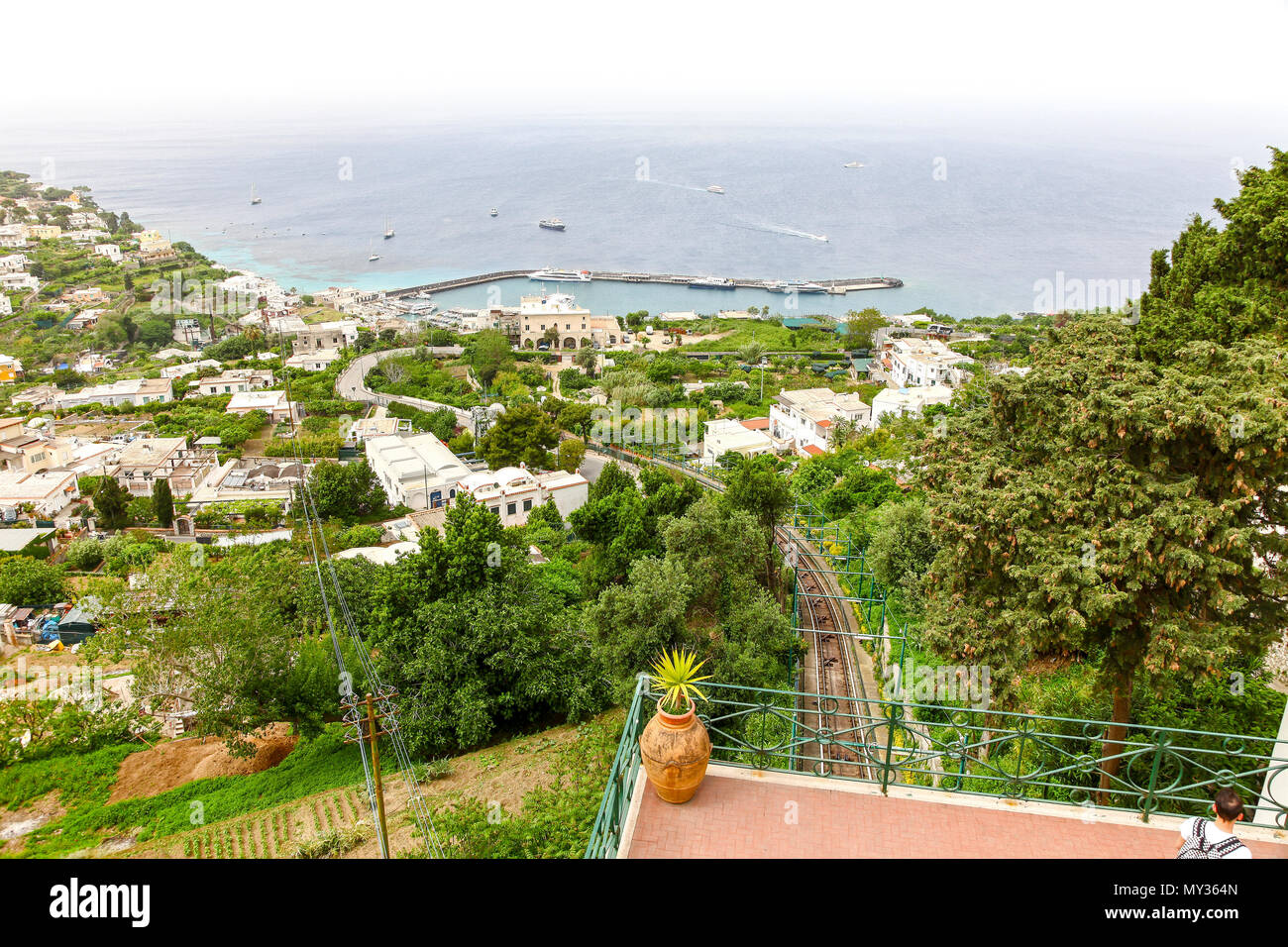 The view from the funicular railway overlooking the bay on the island of Capri, Campania, Italy - Stock Image